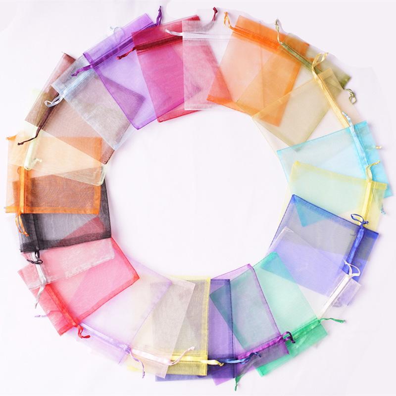 500 stücke 9x12 cm Organza Bag Geschenk Wrap Hochzeit Favor Party Paket Taschen Multi Colors für die Auswahl