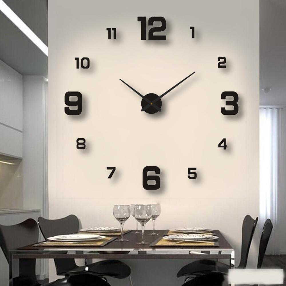 2021 Modern Design Large Wall Clock 3D DIY Quartz Clocks Fashion Watches Acrylic Mirror Stickers Living Room Home Decor Horloge