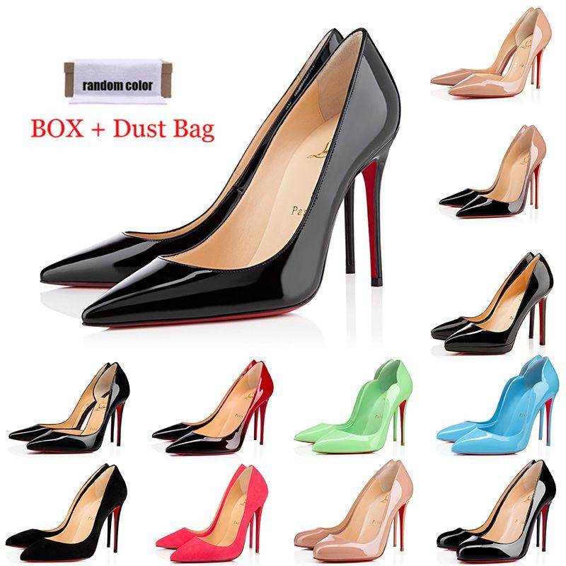 red bottoms high heels Красные низы каблуки мода Роскошные дизайнерские женские туфли круглый Острый носок насосы высокие каблуки женщины дамы платье кроссовки