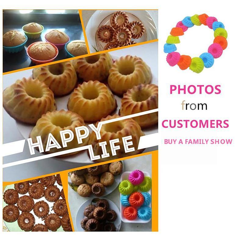 12 / 24pcs / Lot Petit Muffin Cupcake Cupcake Cuisson Pumpkin Gâteau Cuisson Rond En Silicone Moule Silicone Outils de cuisson Pâtisserie Décor Decor Moules