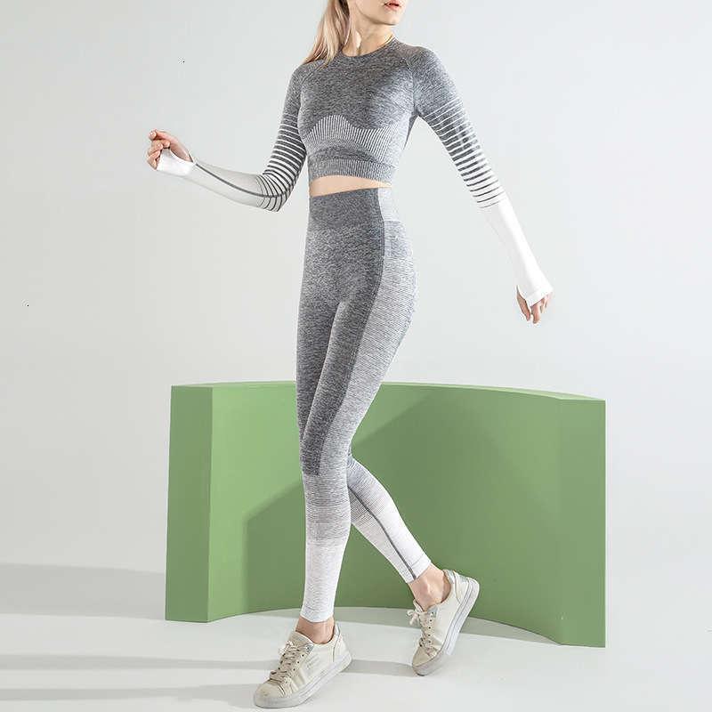 Yoga Damen Trainingsanzüge Anzug Elastic Stripe Hüfte Heben Hohe Taille Sportstrumpfhosen Nahtlose Leggings
