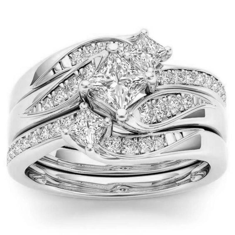 Luxo 3 Pçs / Conjuntos Anel Europa América Moda Trend S925 Jóias Geométricas Para As Mulheres Nupcial Promessa Amor Casamento Noivado Anéis