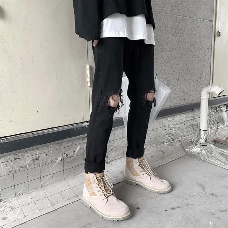 Perth Black Jeans Slim Slim Piet Pieces Primavera y verano Pareja Agujero Mendigo Zipper Pantalones casuales