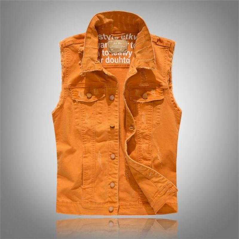 Vests dos homens Grande tamanho laranja rasgado sem mangas sólidas denim colete homens hip hop jeans de moto slim fit mendigo jaqueta para macho j319