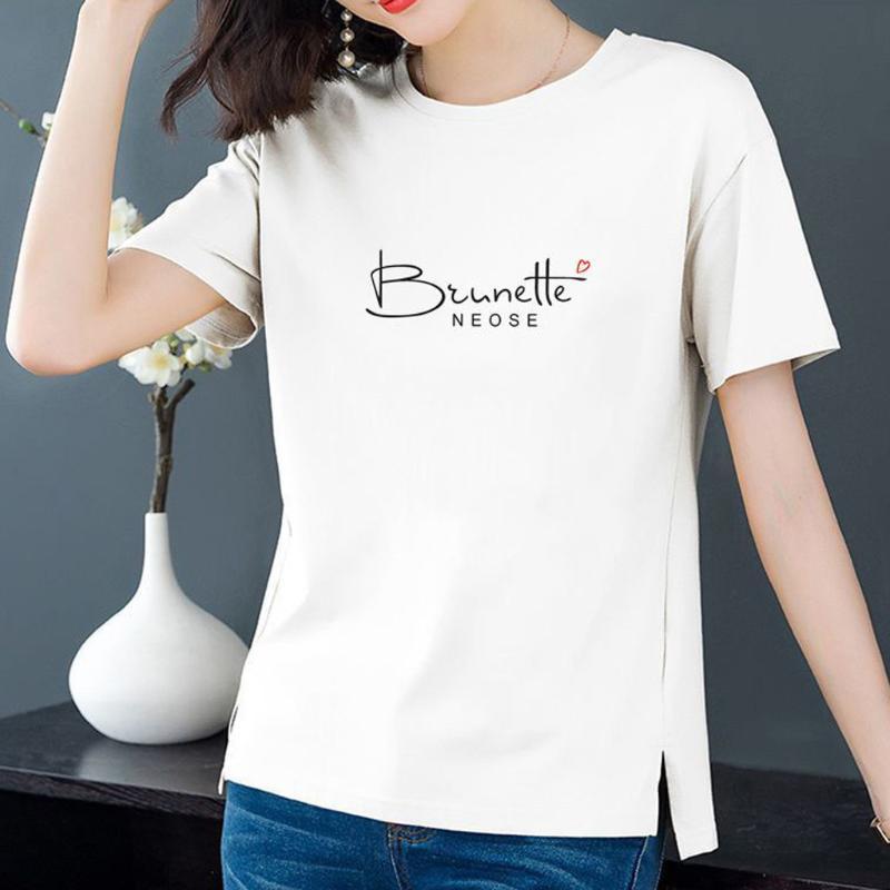 Frauen Brief Drucken T-shirt Beiläufige lustige Bluse Damen Harajuku 2021 T-shirt Kurzarm Rundhals-T-Shirt-Tops weibliche # T1P-Frauen T-Shirt