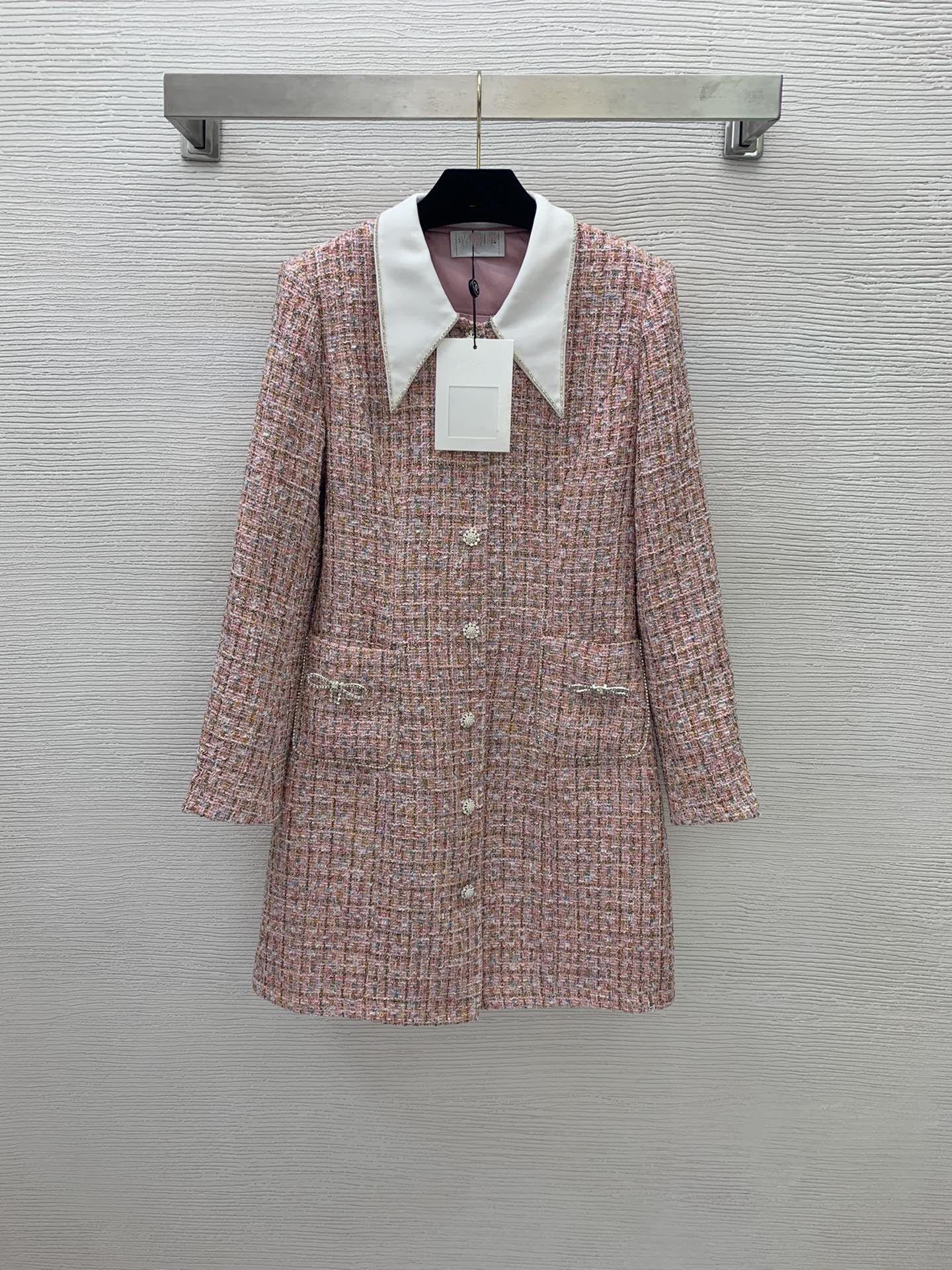 Milan pist ceketler 2021 sonbahar kış yaka boyun uzun kollu panelli kadın tasarımcı kazak markası aynı stil dış giyim 0904-2
