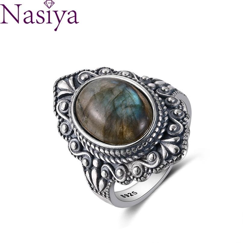 Nasiya Vintage Oval Natural Labradorite Anéis para Mulheres 925 Sterling Silver Jewelry Finger Gemstone Party Presente 210610