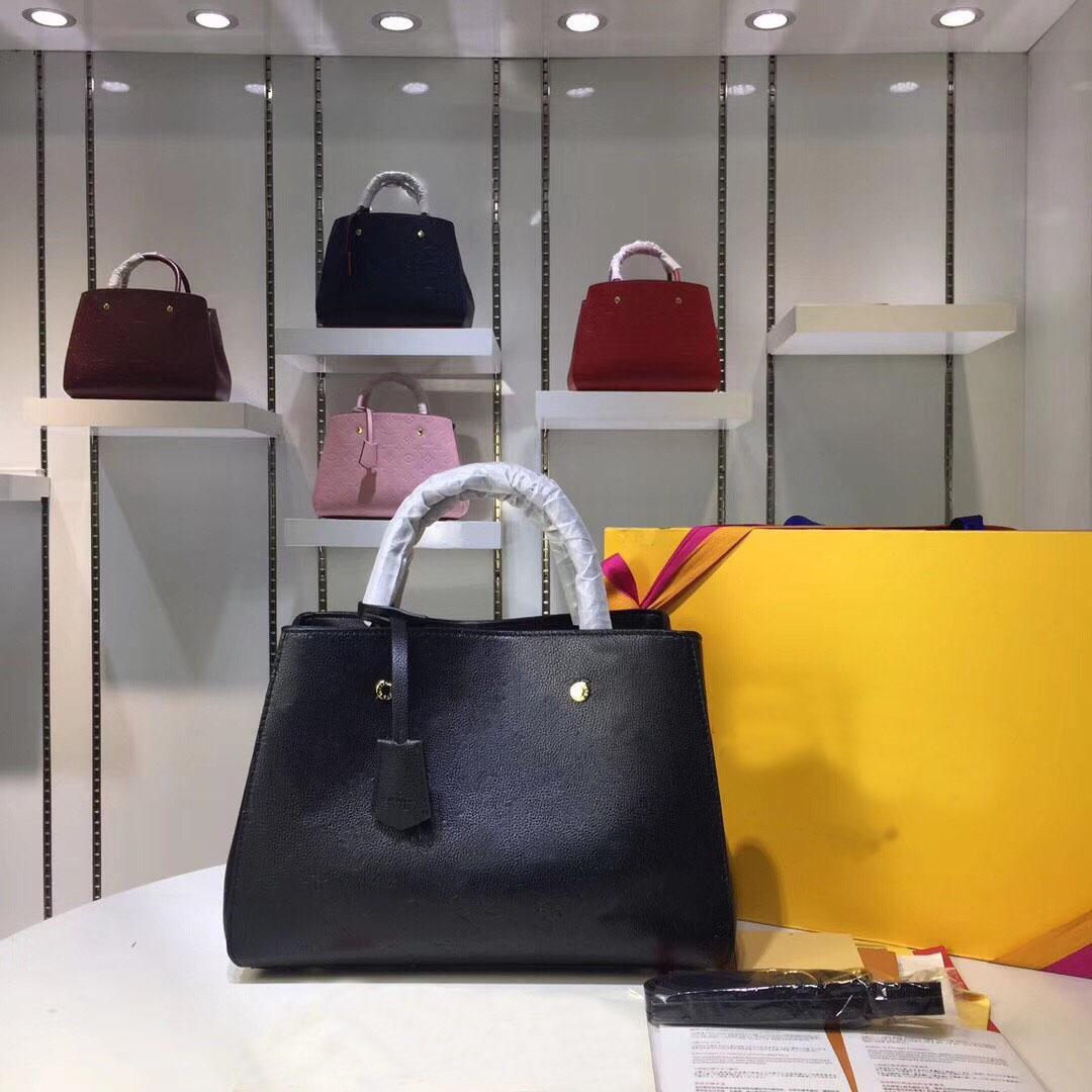 Tote Yüksek Kaliteli Tasarımcı Lüks Çanta Çantalar Montaigne Çanta Kadın Tote Marka Mektubu Kabartma Hakiki Deri Omuz Çantaları