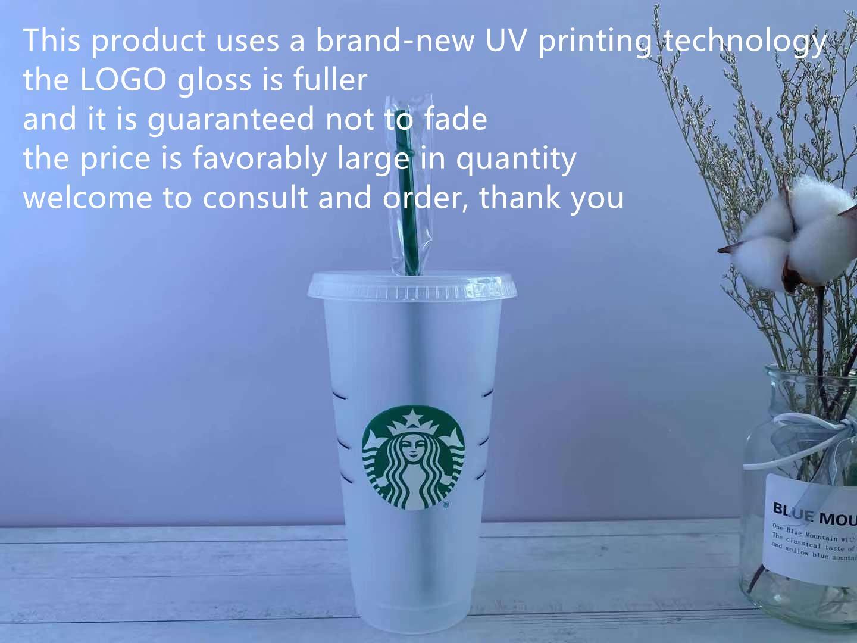 Starbucks 24oz / 710ml Plástico Tumbler Reusável Beber Limpar Beber Flat Bottom Completo Forma de Forma LID Caneca de palha Bardian DHL Impressão de máquina UV não desaparece