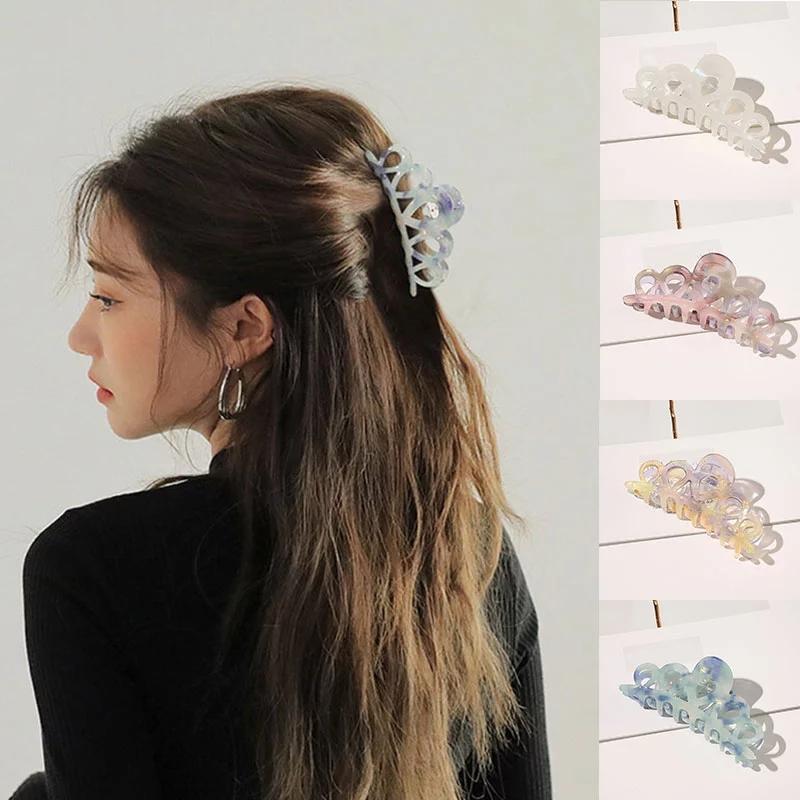 Asetat Saç Klip Pençeleri Saç Aksesuarları Hollow Out Saç Pençe At Kuyruğu Tokalar Geometrik Barrette Hairgrips Plastik Kız Aksesuarları