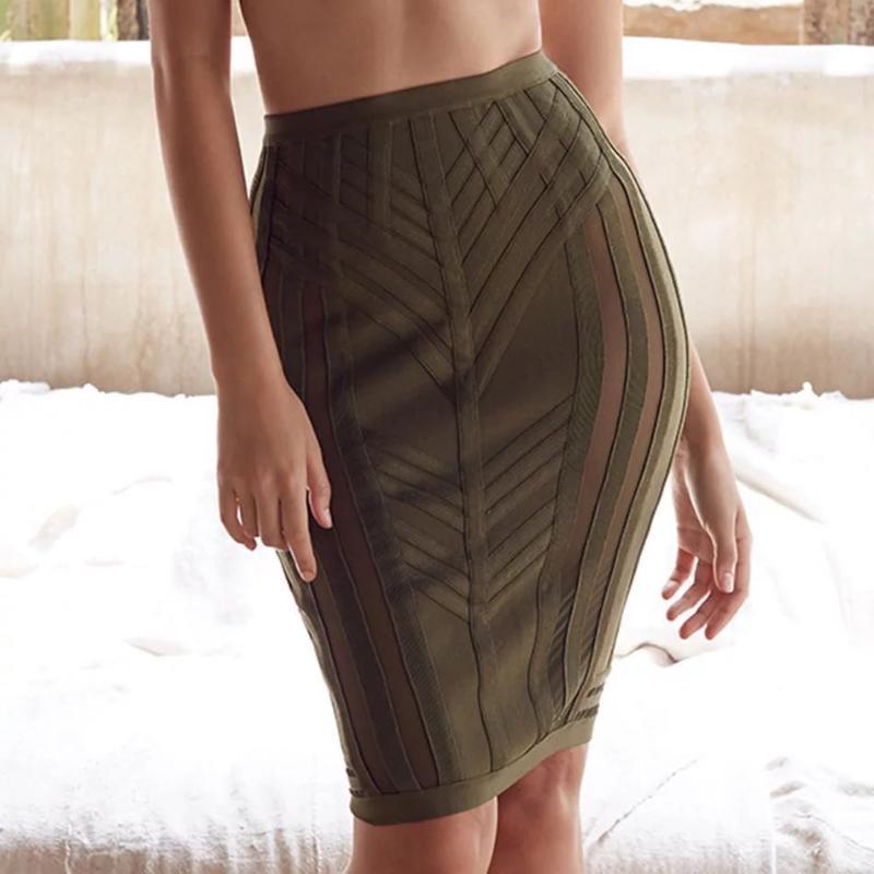 Röcke Mode Grün Kurzer Promi-Bandage für Frauen Sexy Bleistift Slim Bodycon Rock