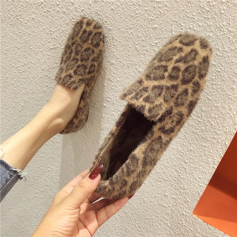 Sandalet Seksi Leopar Kürk Flats Kadınlar Kare Toe Katır Karışık Renk Kış Düz Ayakkabı Kadın Loafer'lar Üzerinde Kayma Rahat Peluş Moccasins 550