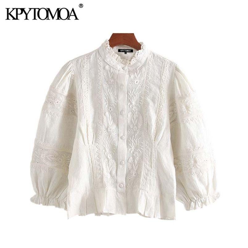 Tatlı oymak nakış bluzlar kadın moda ruffled yaka üç çeyrek kollu kadın gömlek blusa chic tops 210420