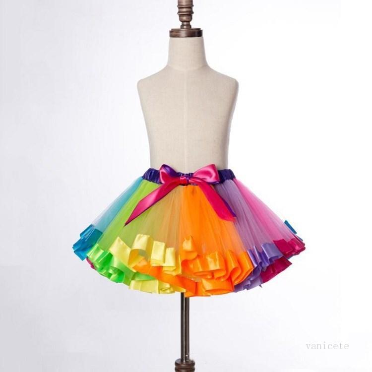6 color Kids Clothing Rainbow skirts mesh Tutu Skirt christmas Children's dance performance baby Skirt decorate SML T2I52149