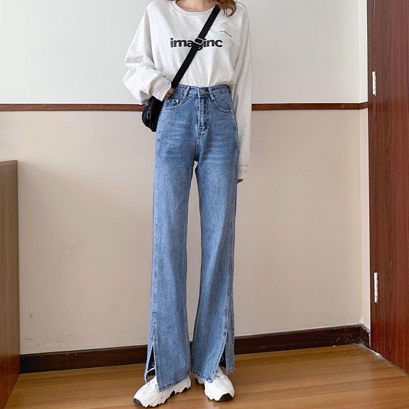 2021 Spring Straight Tube Souring Jeans BF para los estudiantes de alta cintura femenina se ve delgada y suelta, los pantalones divididos de pierna ancha son