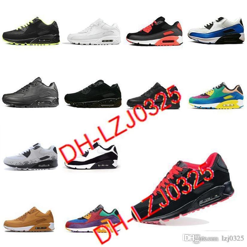 90 Botas zapatillas para correr hombres Todos Negros Blanco Classic Transpirable Sports Sports Aires al aire libre Cojín Sneakers DHX-H3