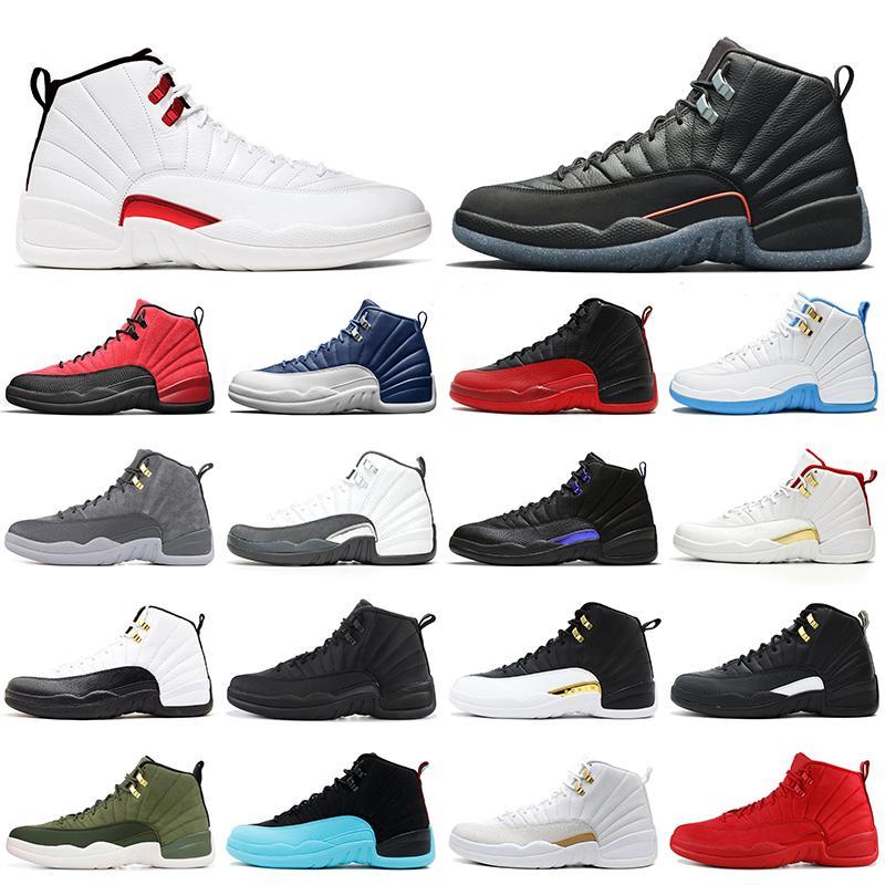 الرجعية الهواء الأردني 12 الرجال أحذية كرة السلة jumpman 12 ثانية عكس الانفلونزا لعبة عيد الفصح تويست إنديجو فائدة الآيس كريم AJ12 رجل إمرأة المدربين رياضة المشي الركض