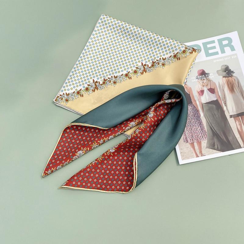 53 * 53cm 패션 실크 스카프 작은 사각형 여성 인쇄 뽕나무 꽃 바느질 장식 스카프