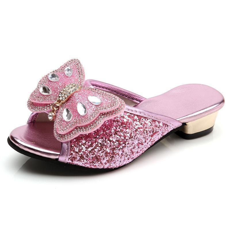 الفتيات النعال الصيف الأحذية الاطفال الأميرة الصنادل الأزياء فراشة منخفضة الكعب الأطفال عارضة بريق جلدية شاطئ الوجه فليب