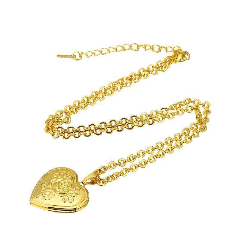 خمر روز زهرة المنجد قلادة للنساء الفتيات الأزياء والمجوهرات هدية 18 كيلو مطلية بالذهب الحب القلب صورة المنجد قلادة 599 k2