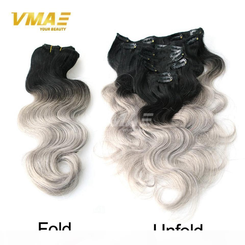 Brazilian 14 to 18 Inch 100g Body Wave Silver Grey Ombre Color Virgin Remy Human Hair Extensions Clip In