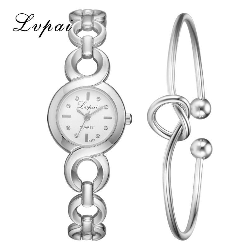 Armbanduhren LVPAI Schnalle Link Strap Simple Point Drillendialuhr Herzförmiges Knotenarmband