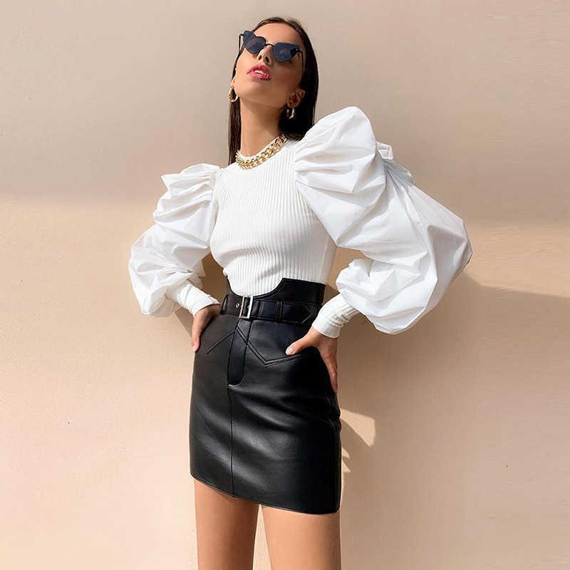 Frauen Blusen Hemden Talilo-Arthülse Gestrickte weiße Bluse Frühling Herbst Vintage Hemd Frauen Tops und Slim Blusas Iryv