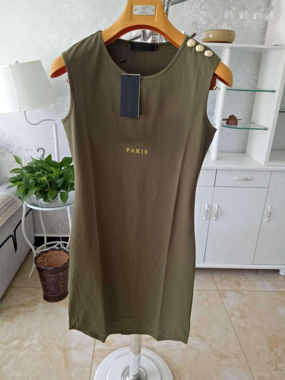 Mulheres Casual Vestidos Padrão de Carta Clássica Imprimir Botão De Ouro Mulheres Estilo Ativo Verão Sem Mangas Vestido