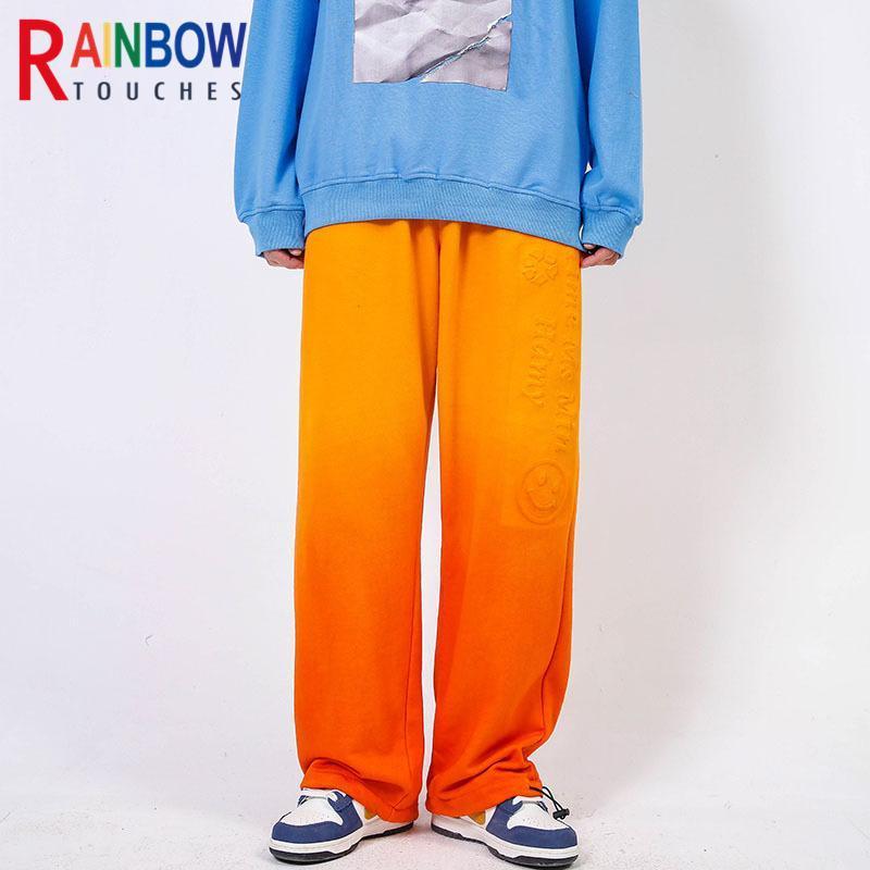 Erkek Pantolon RainbowTouches Yüksek Sokak Pantolon Gelgit Akım Hip-Hop Kravat-Boya Degrade Gevşek Düz Bacak Drape Geniş Halat