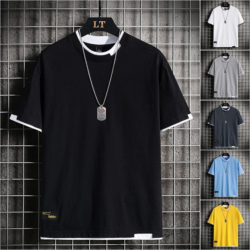 2021 Yaz Yeni Kısa Kore Moda Yuvarlak Boyun Gevşek Yarım Kollu erkek T-shirt Tişörtleri Markalar