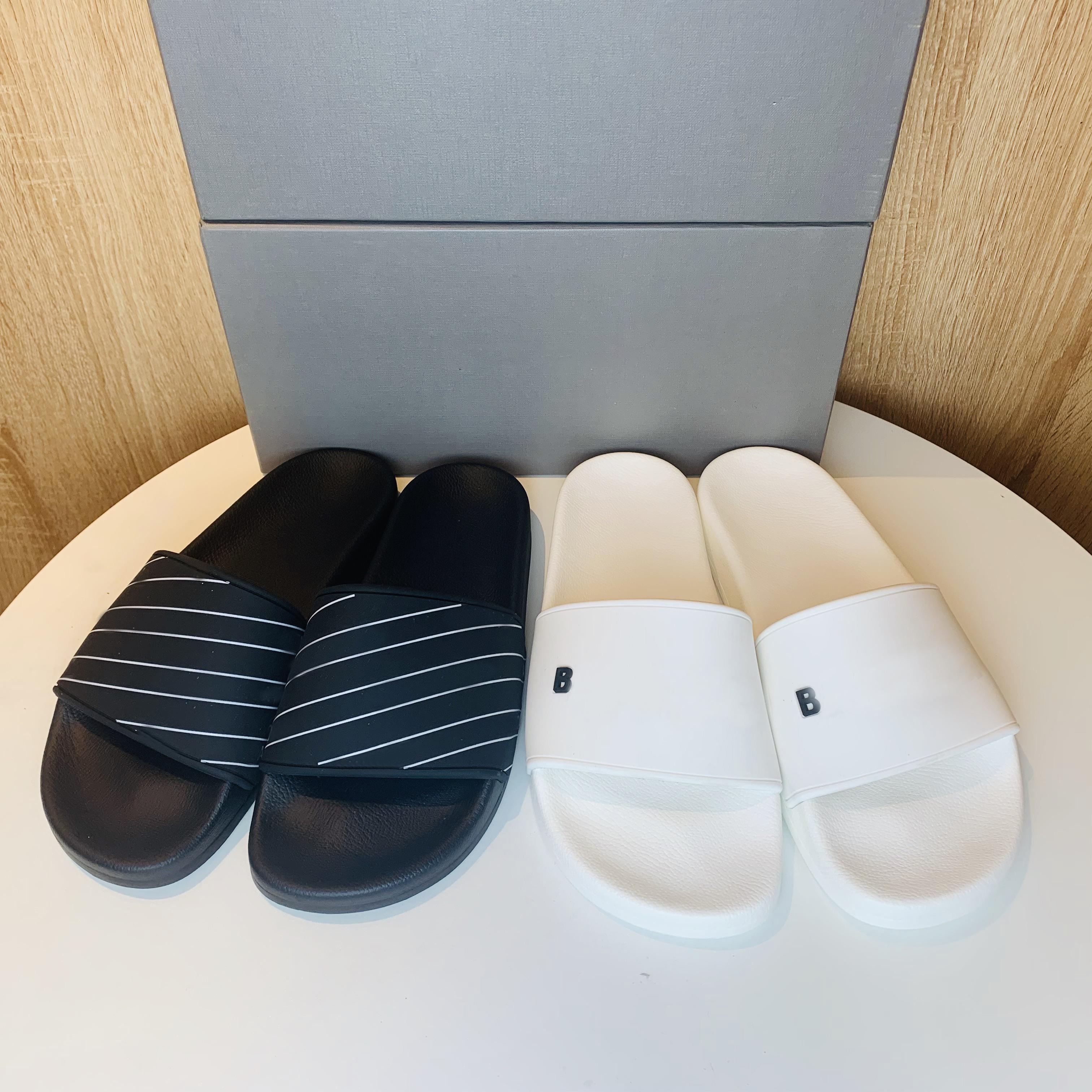 Классические мужские тапочки женские сандалии тапочки скольжения Высококачественные летние моды широкие плоские тапочки шлепанки с коробкой размером 35-46