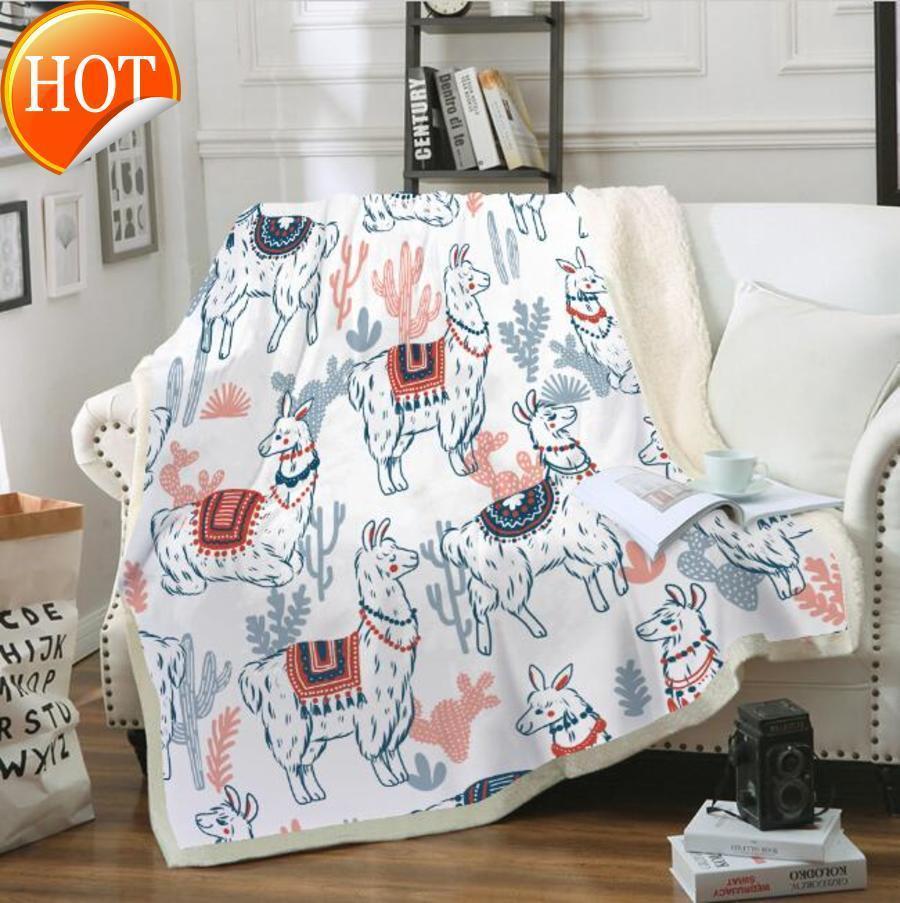 سميكة مكيف الهواء دافئ بطانية 3d المطبوعة الألبكة المخملية أفخم رمي البطانيات للأطفال الكبار جميل ستوكات السرير شيربا z5c1