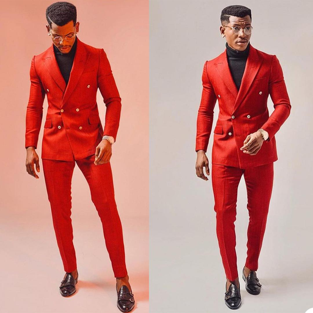 Red Double Breasted Mens Customized Wedding Tuxedos Plus Size Men Wear Dinner Prom Party Blazer Suits (Jacket+Pants)