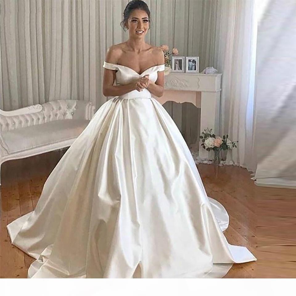 Simple Satin Wedding Dresses Off The Shoulder Ball Gown Bride Dress Chapel Train Wedding Gowns Buttons Back Vestido De Noiva