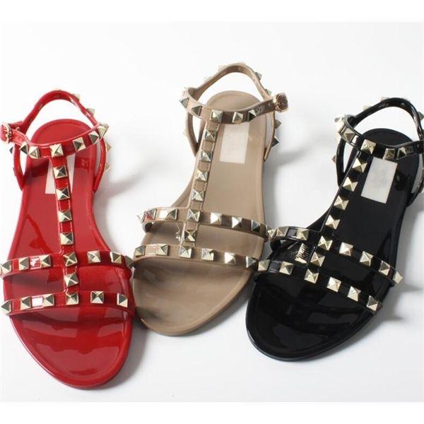 slippers brands Sale-classics women flat sandal rivets Flat-bottomed beach Women's seaside jelly sole with anti-skid rivet brand sandals 35-40