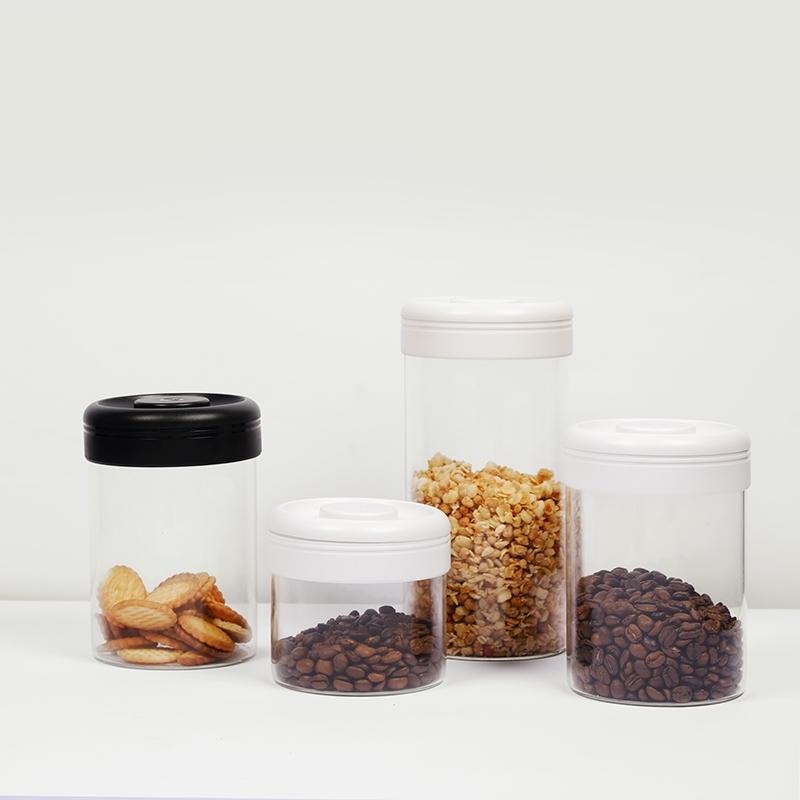 Timemore Conteneur sous vide Scellé Snacks Thé Cafeaux Beans Jar Stockage Cuisinières Verre Bocaux et couvercles 210331