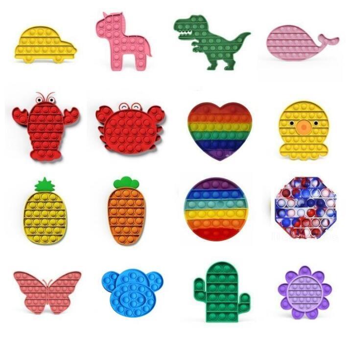 Tiktok Tea Tea Dye Push Pop Fidget Toy Rainbow Bubble Sensosory Autism Специальные нужды Стресс Reliver Он сжимает сенсорную игрушку для детей Family DHL Fast Shipping