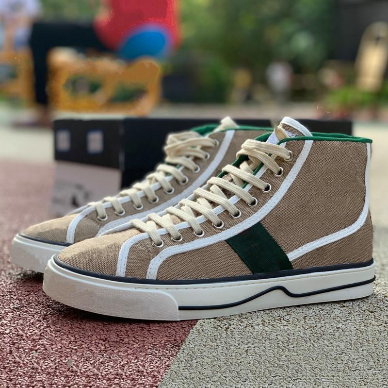 1977 عالية أعلى حذاء إيطاليا الأخضر الأحمر شريط الفضلات الأحذية 77 التطريز طباعة قماش ايس خمر مصمم أحذية رياضية تنس عارضة الأحذية