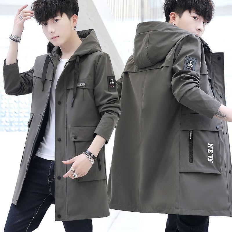 Versión coreana coreana media larga hermosa tendencia Primavera Autumn 2021 Nueva escuela secundaria Estudiantes de alumnos Abrigo de los hombres40QN