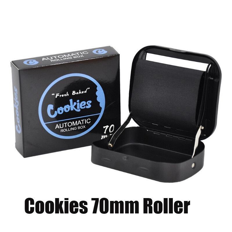 Cookies cigarros rolo 70mm padrão manual de mão rolo automático rolling preto cor cigarro vape fumar caixa de metal