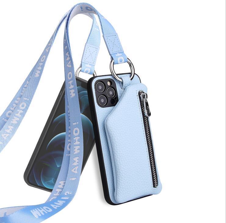 حالات الهاتف الخليوي التفاح iPhone12Promax / 11 / XR / MINI / XS الحبل عملة محفظة المد جلد العلامة التجارية مصمم