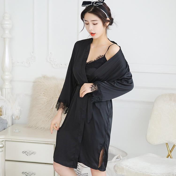 Pijamas verano verano sexy ropa de dormir suspender noche seda manga larga camisón camisón dos piezas traje delgado encaje casero ropa primavera y otoño