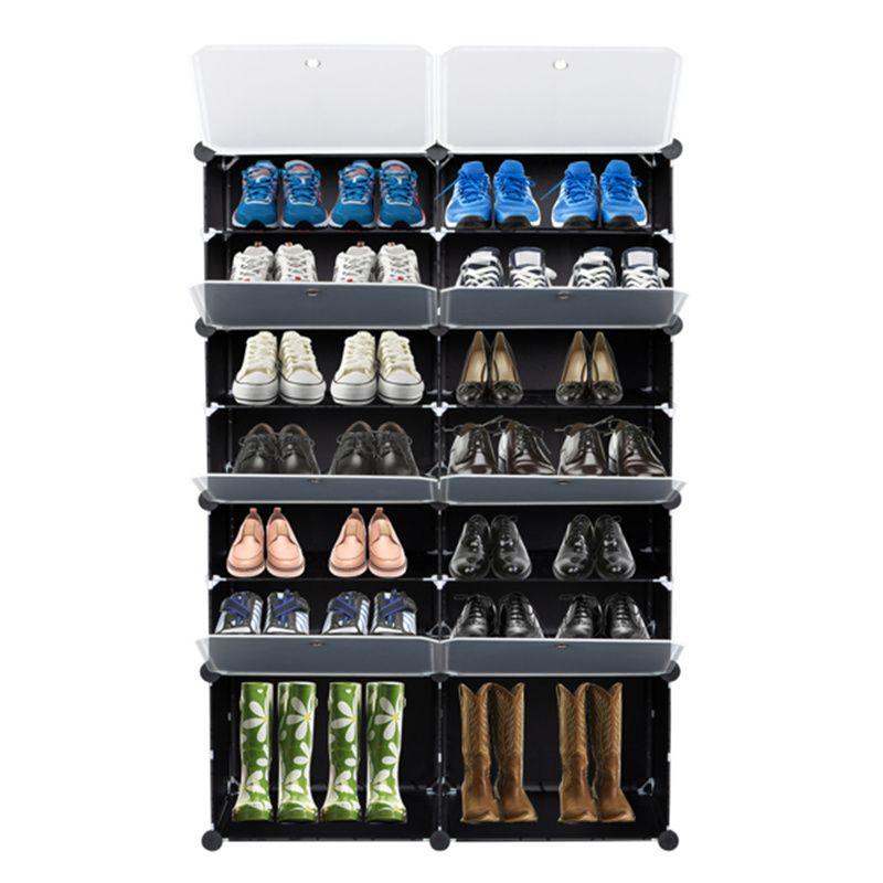 ABD 7-Tier Taşınabilir 28 Çift Plastik Ayakkabı Raf Organizatör 14 Izgaralar Kule Raf Depolama Dolabı, Topuklu, Botlar, Terlik, Siyah için Genişletilebilir Standı