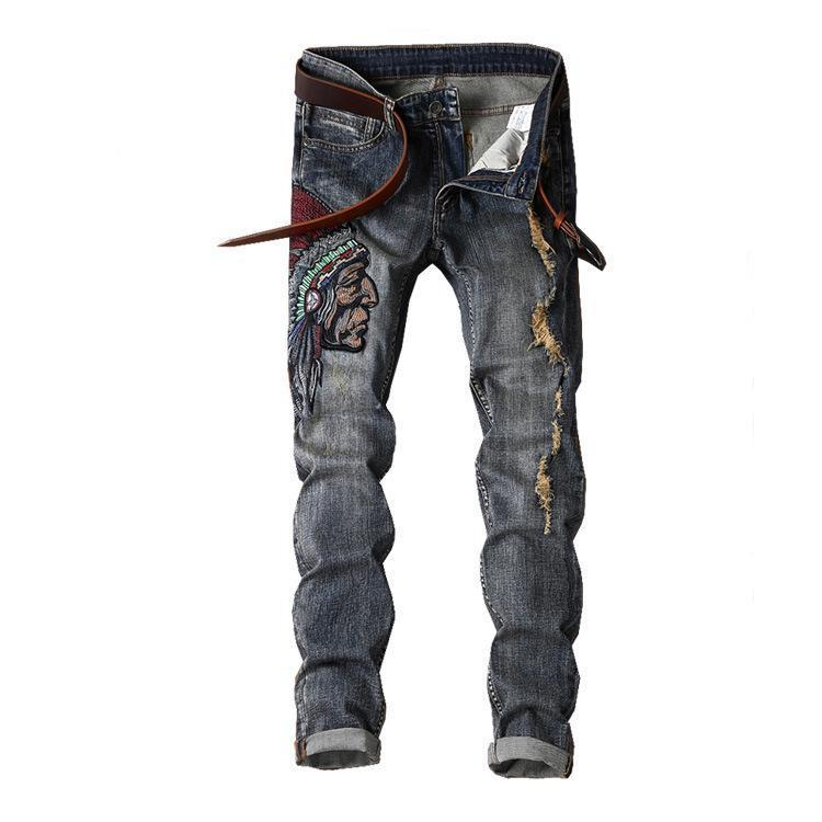 Arrivi Jeans da uomo Jeans strappato Biker Mens Streetwear Stretch Denim Pants