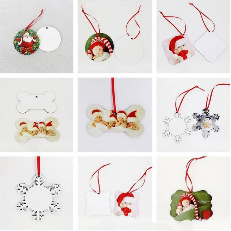 MDF التسامي فارغة زينة عيد الميلاد جولة ساحة الثلج شكل الحلي نقل الحرارية طباعة شجرة قلادة الديكور dhl التوصيل المجاني