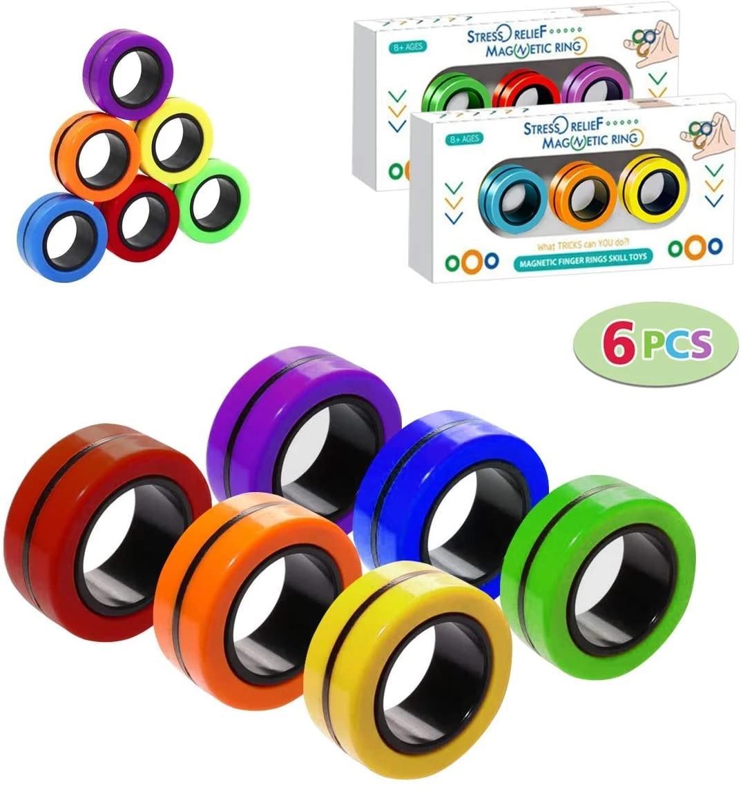 Anelli magnetici anti-stress anelli magnetici per bambini Decompressione giocattoli giocattoli magici anello puntelli strumenti per autismo adhd ansia rilievo focus CPA3298