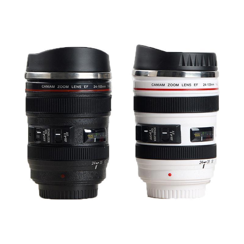 Kupalar Paslanmaz Çelik Kamera EF24-105mm Kahve Lens Kupa Beyaz Siyah Yaratıcı Hediye Bardak Canecas Tazas Vaso Café