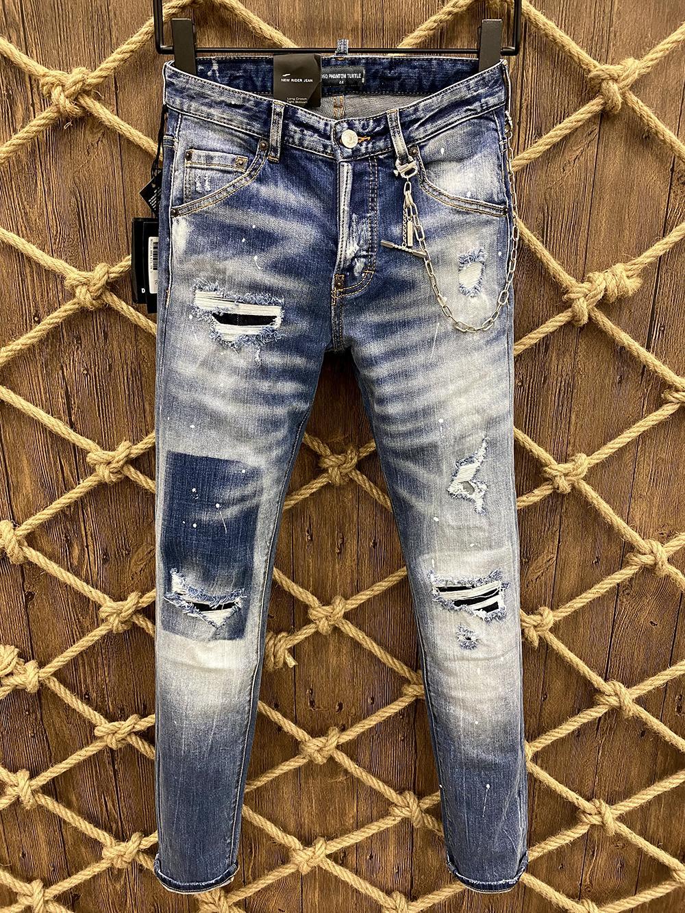 DSQ Phantom Tortue Classic Fashion Homme Jeans Hip Hop Rock Moto Mens Décontracté Design Décontracté Jeans Détressé Skinny Denim Biker DSQ Jeans 6162