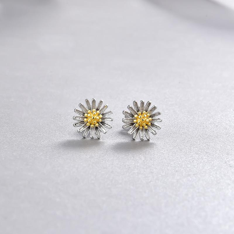 Stud S925 Sterling Silver Fresh Style Temperament Earrings Accessories Daisy Shape Personalized Fashion Jewelry