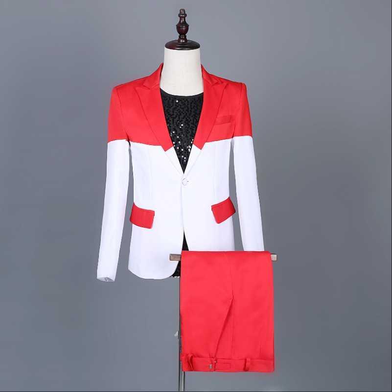 Costume coréen blanc cousus costume de coutures 2pcs tfboys nous sommes tous des attrapeurs de rêves de même mâle chanteur scène Veste Homme Luxe Mariage Mariage Hommes